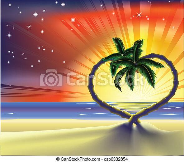 cuore, romantico, albero, palma, illustrazione, spiaggia - csp6332854