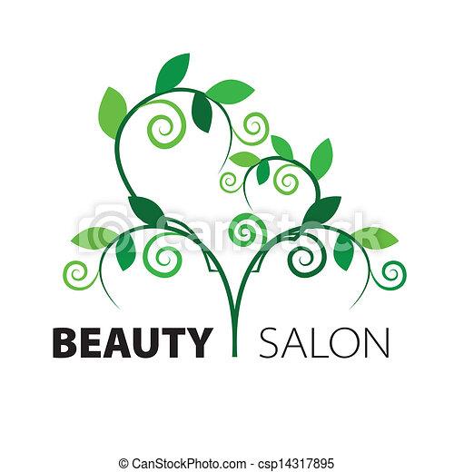 cuore, salone, bellezza, foglie, albero, verde, logotipo - csp14317895