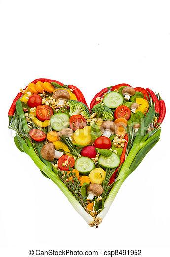 cuore sano, fatto, mangiare, vegetables. - csp8491952