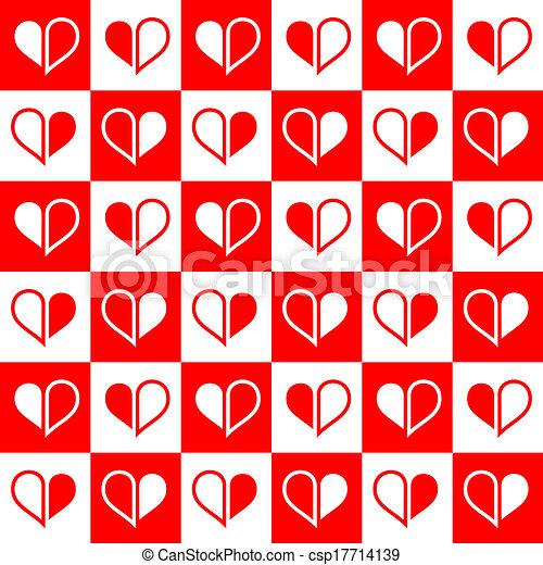 cuore, seamless, rosso, metà - csp17714139