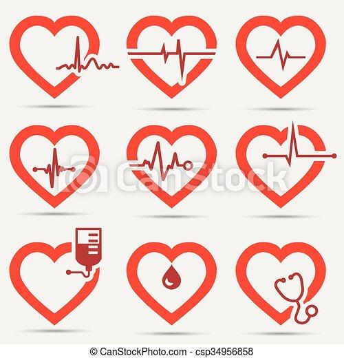 cuore, set, icona - csp34956858