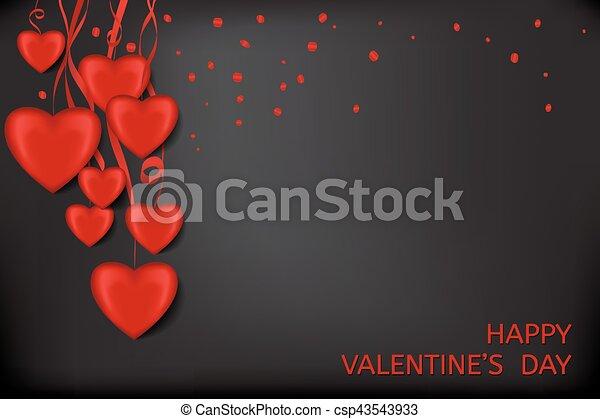 Cuore Sfondo Nero Coriandoli Nastri Rosso Valentine Nero Rosso