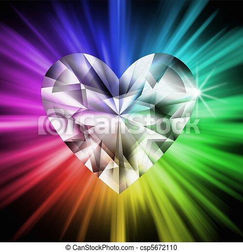 cuore, sopra, diamante, colori, arcobaleno - csp5672110