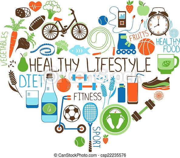 cuore, stile di vita, dieta sana, segno, idoneità - csp22235576
