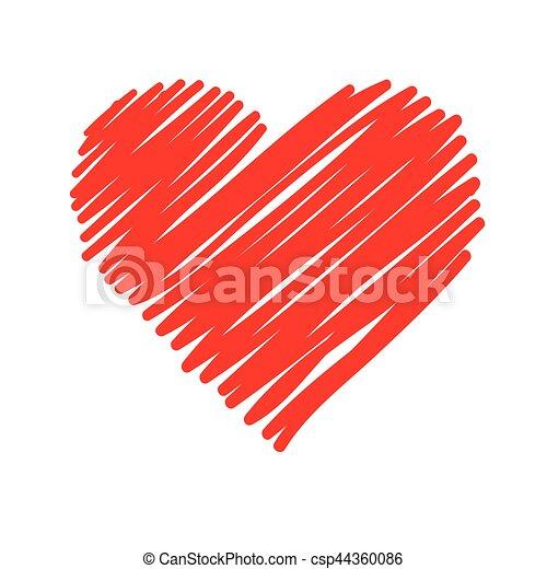 Cuore Strisce Sfondo Bianco Rosso Cuore Illustrazione Fondo