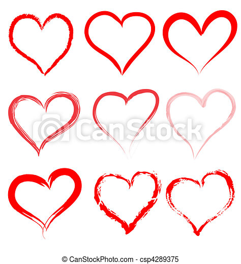 cuore, valentines, valentina, vettore, cuori, giorno, rosso - csp4289375