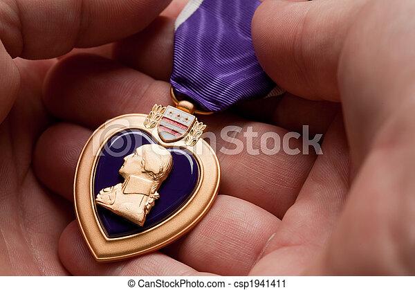 cuore, viola, presa a terra, medaglia, guerra, uomo - csp1941411