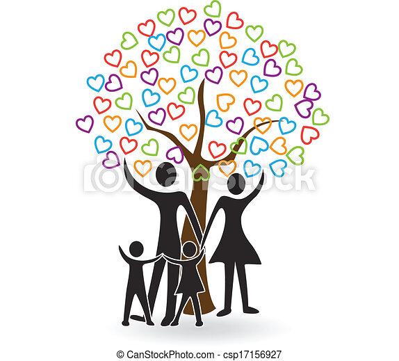 cuori, albero, famiglia, logotipo - csp17156927