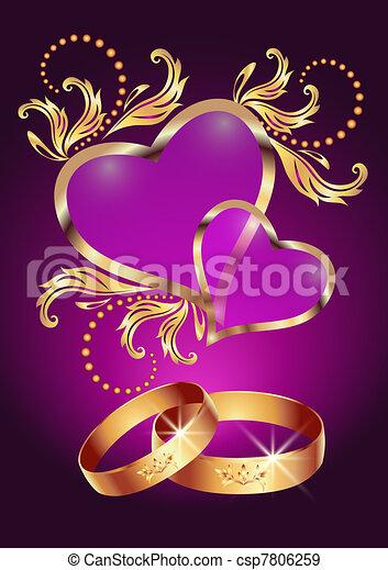 cuori, anello, due, matrimonio - csp7806259