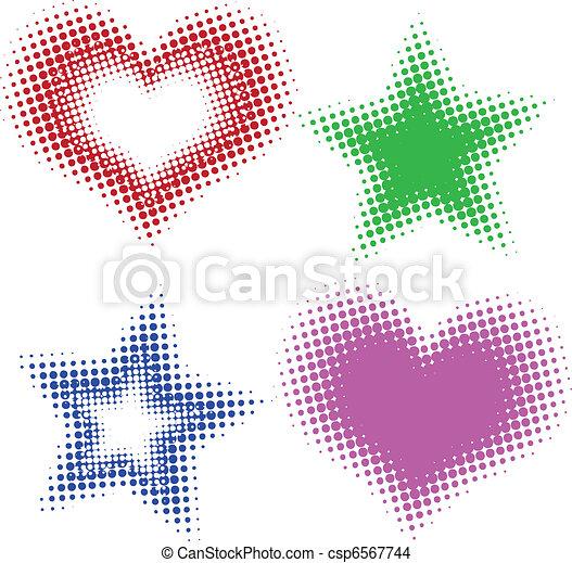 cuori, halftone, stelle - csp6567744