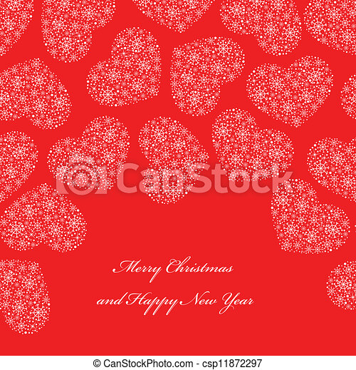 cuori, sfondo rosso - csp11872297