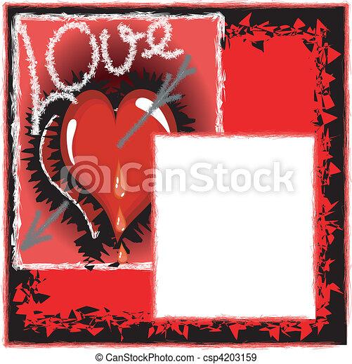cuori, sfondo rosso - csp4203159