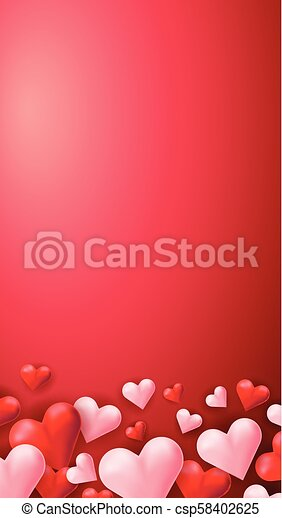 cuori, sfondo rosso - csp58402625