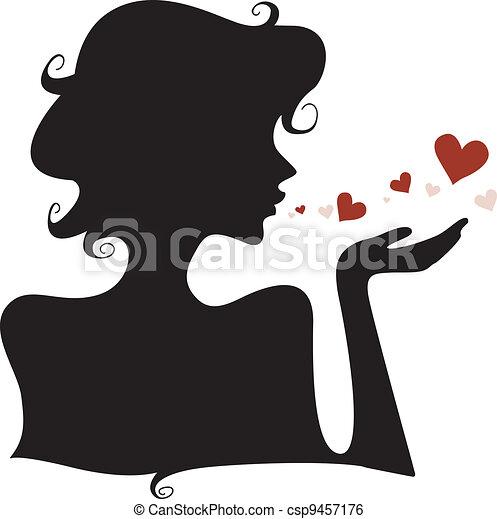 cuori, silhouette - csp9457176