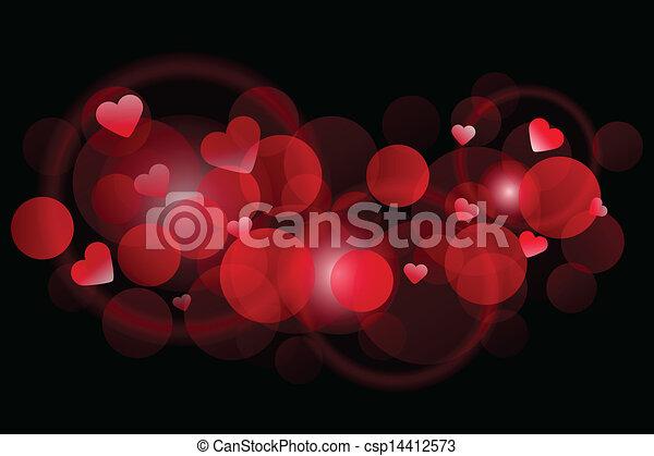 cuori, vettore, sfondo rosso - csp14412573