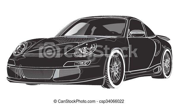 Coche deportivo negro, en el bac blanco - csp34066022