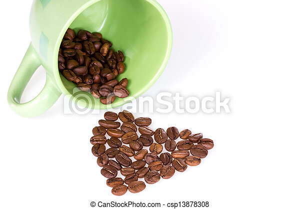 Cup and coffee beans heart - csp13878308