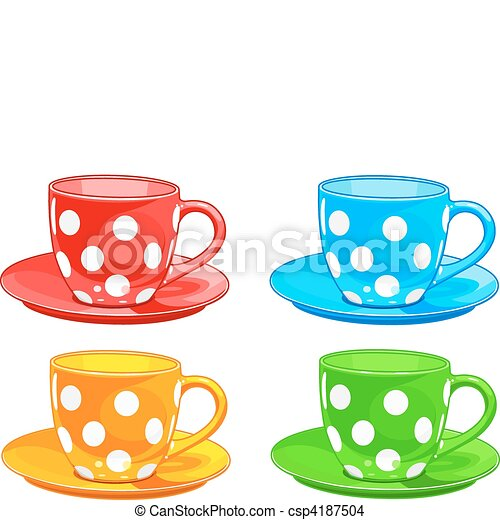 cup and saucer illustration of four different color cups eps rh canstockphoto com