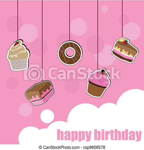 cup cake birthday card - csp9608578