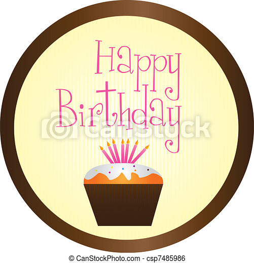 cup cake happy birthday  - csp7485986