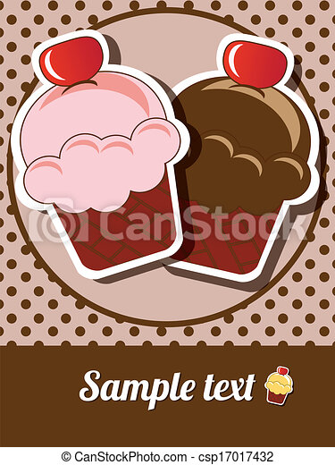 Cup cake invitation background - csp17017432