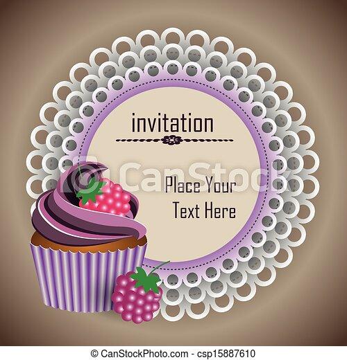cup cake invitation - csp15887610