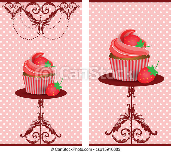 cup cake strawberry - csp15910883