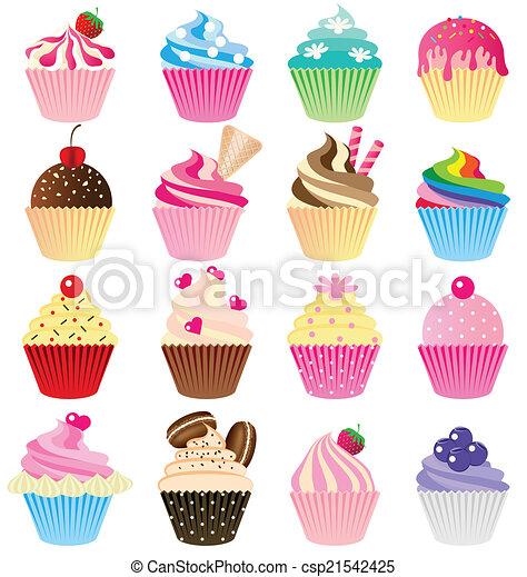 Cup cake vector set - csp21542425