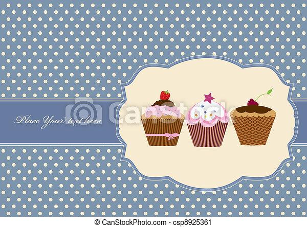 Cup cake vintage frame design  - csp8925361