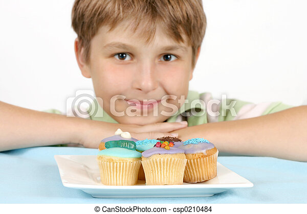 Cup Cakes on a white plate - csp0210484