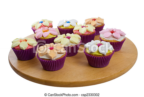 Cup Cakes Over White Background - csp2330302