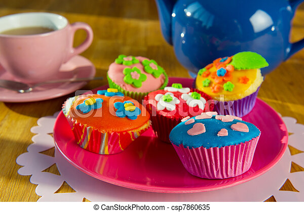 Cup cakes with tea - csp7860635