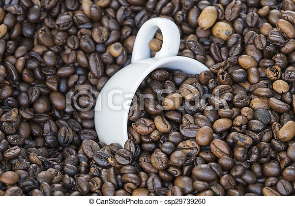 cup full of coffee beans - csp29739260