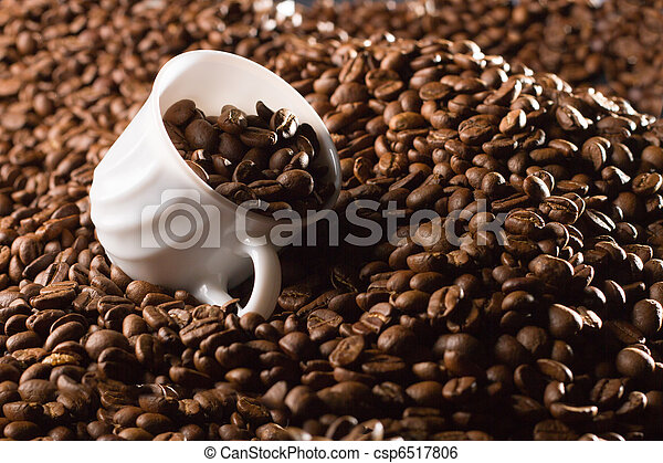 Cup full of coffee beans - csp6517806