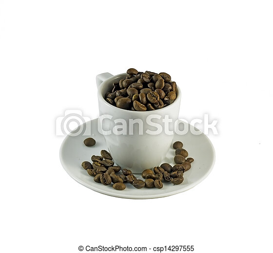 Cup full of coffee beans - csp14297555