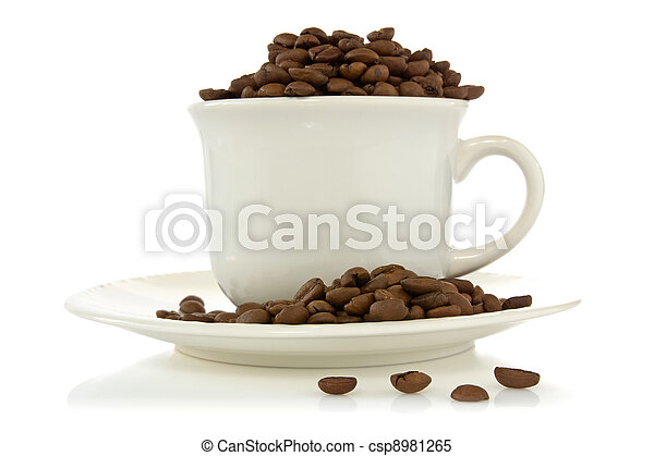 cup full of coffee beans - csp8981265