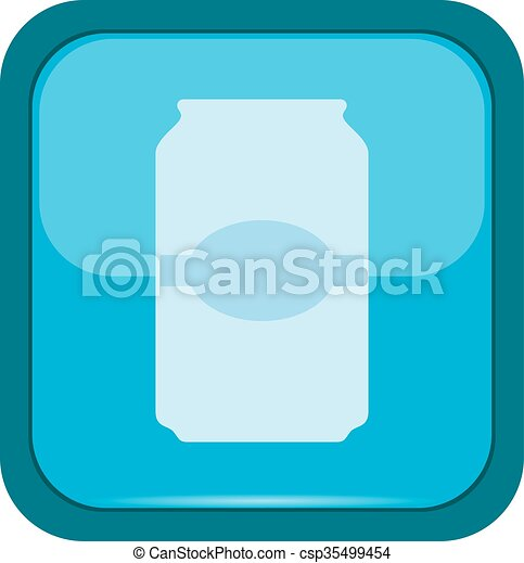 Cup icon on a blue button - csp35499454