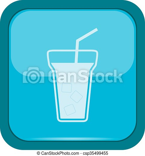 Cup icon on a blue button - csp35499455