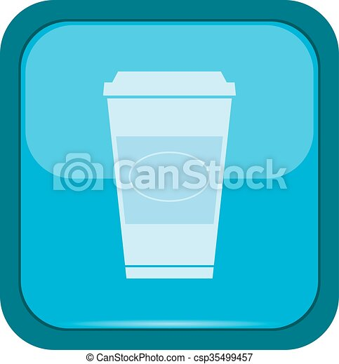 Cup icon on a blue button - csp35499457