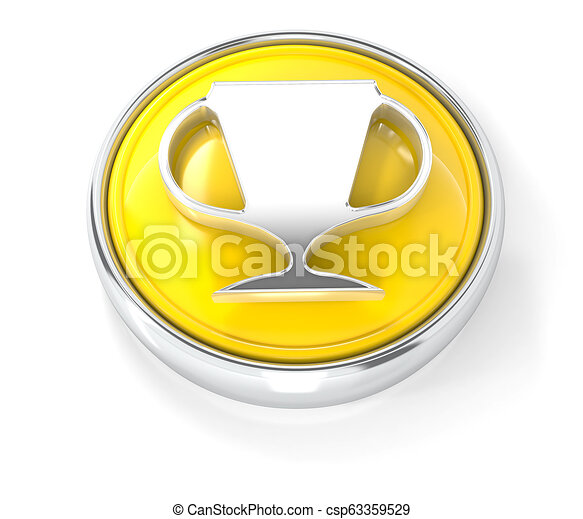Cup icon on glossy blue round button - csp63359529