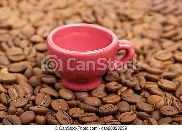 Cup in coffee beans - csp20023259