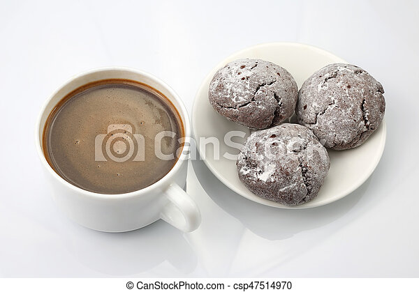 cup of black coffee with biscuits on white background - csp47514970