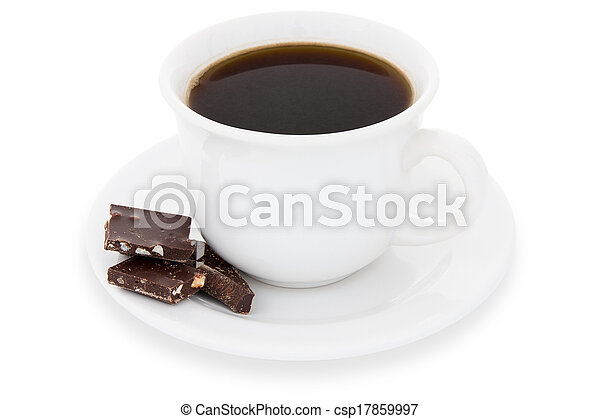 Cup of black coffee with chocolate - csp17859997