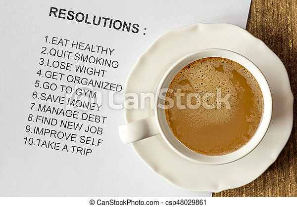 Cup of cappuccino with list of new resolutions - csp48029861