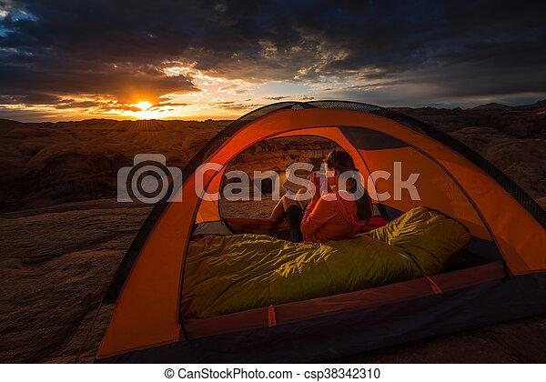 Cup of Coffe at Sunrise Reflection Canyon Utah Lake Powell Camping - csp38342310