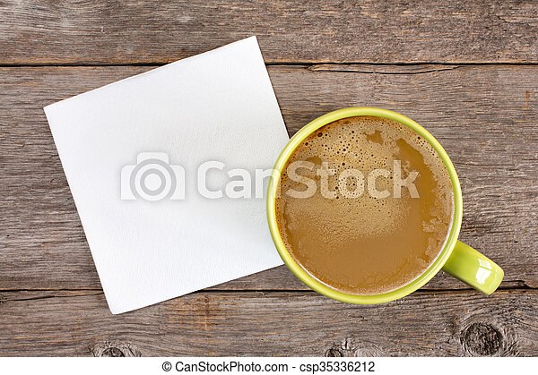 Cup of coffee and blank napkin - csp35336212