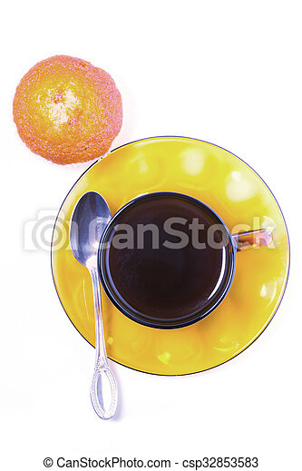 Cup of coffee and cakes on a white background - csp32853583