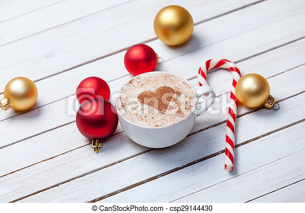 Cup of coffee and christmas candy - csp29144430