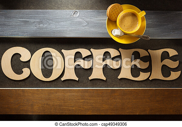 cup of coffee and letters at wood - csp49349306