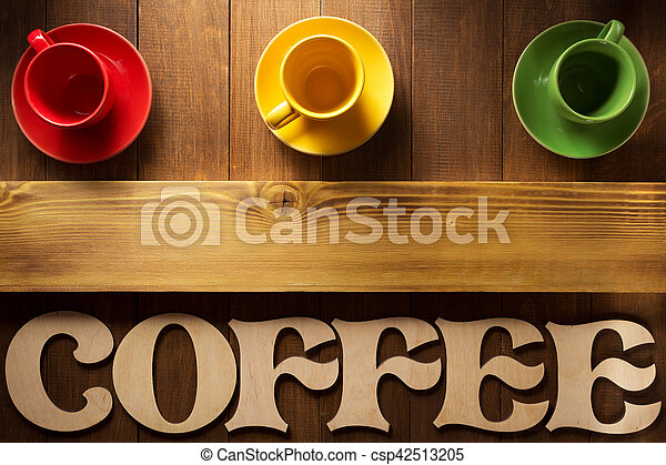 cup of coffee and letters on wood - csp42513205